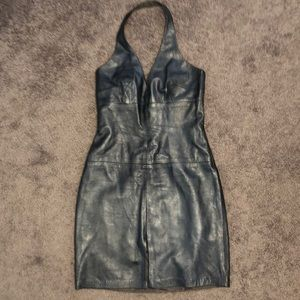 Laundry 8 Pewter Leather Halter Dress